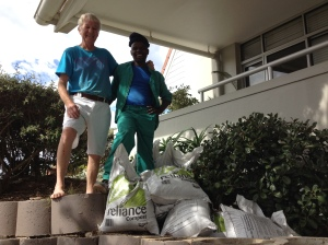 Ten bags of organic compost from Reliance Compost were delivered to Mrs. Coetzer's home in Table View.