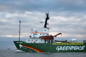 Arctic Sunrise near Prirazlomnaya Oil Rig